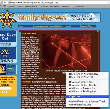 Hover over most links and you can either Right click (Windows) or Control click (Mac) to copy the link to a clipboard.