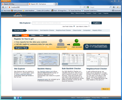 Screenshot of Majestic SEO homepage