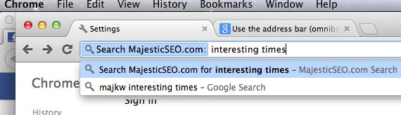 MajesticSEO als Suchmaschine in Google Chrome