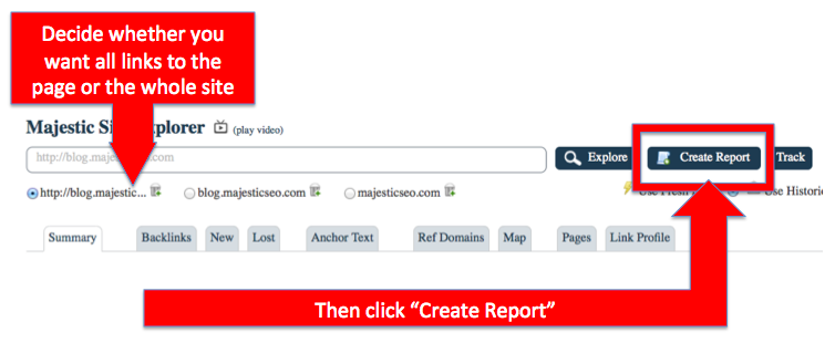 Create an advanced backlink report to a page or entire website