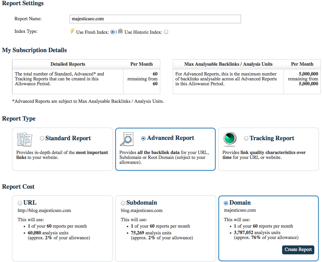 The Advanced Report Screen of Majestic to choose and configure the backlink report with Majestic
