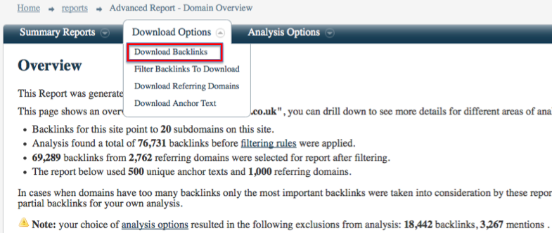 Download Backlinks Screen Shot