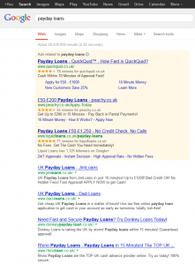 Payday Loans Google results 10 May