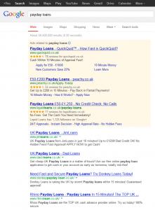 Payday Loans Google results 10 May