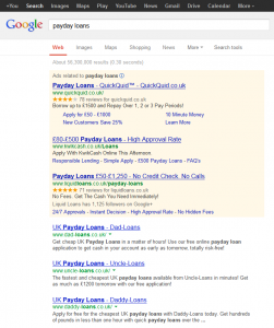 Payday loans Google results 13 May