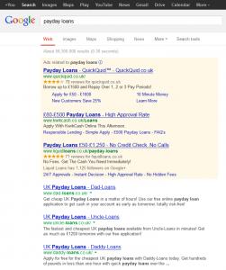 Payday loans Google results 13 May