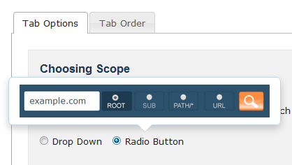 Choose between a radio or drop down option for Site Explorer.