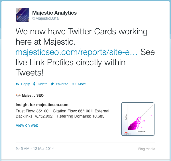 A Twittercard for MajesticSEO.com