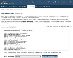 Screenshot del bulk backlink explorer