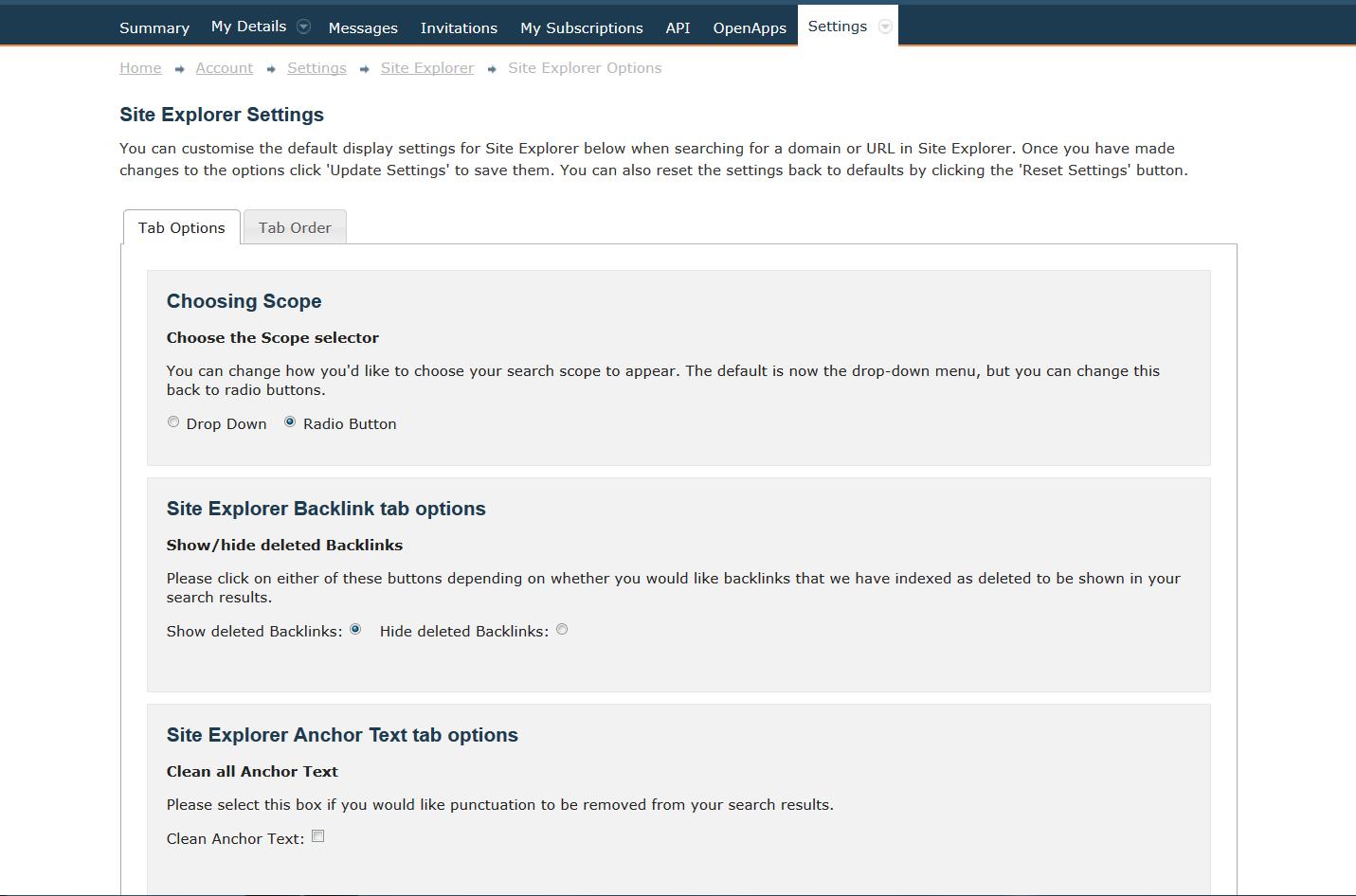 Image 3: Site Explorer Settings
