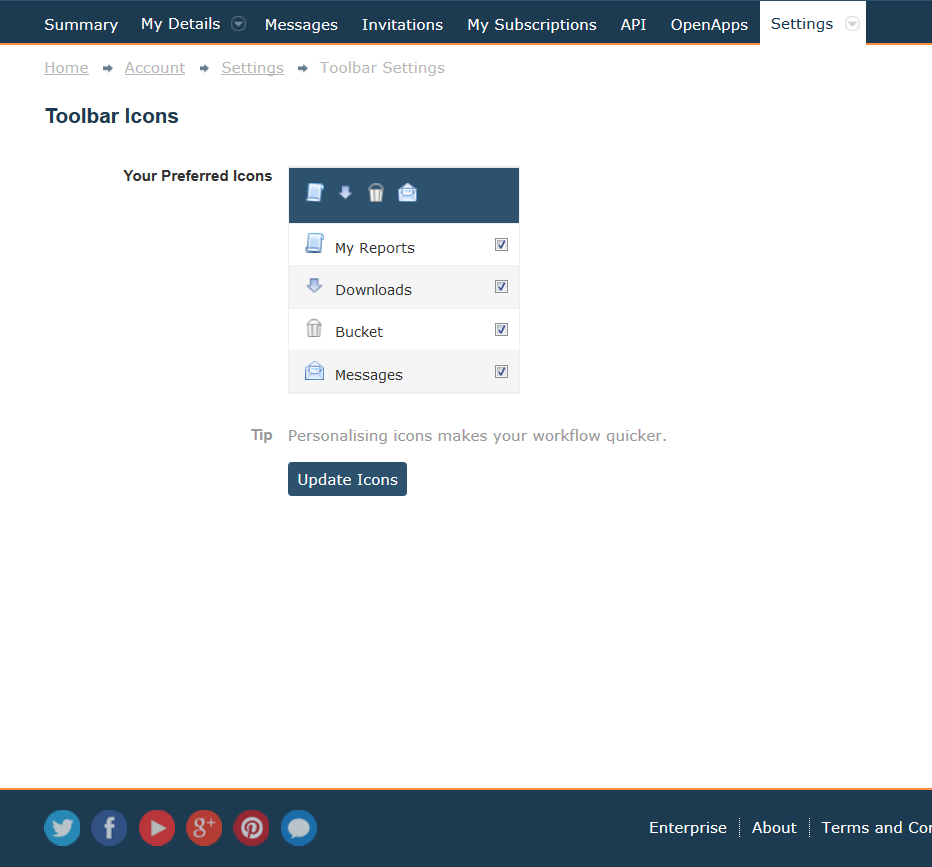 Image 5: Toolbar Settings