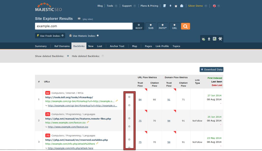 Image 1: Backlinks tab, Site Explorer