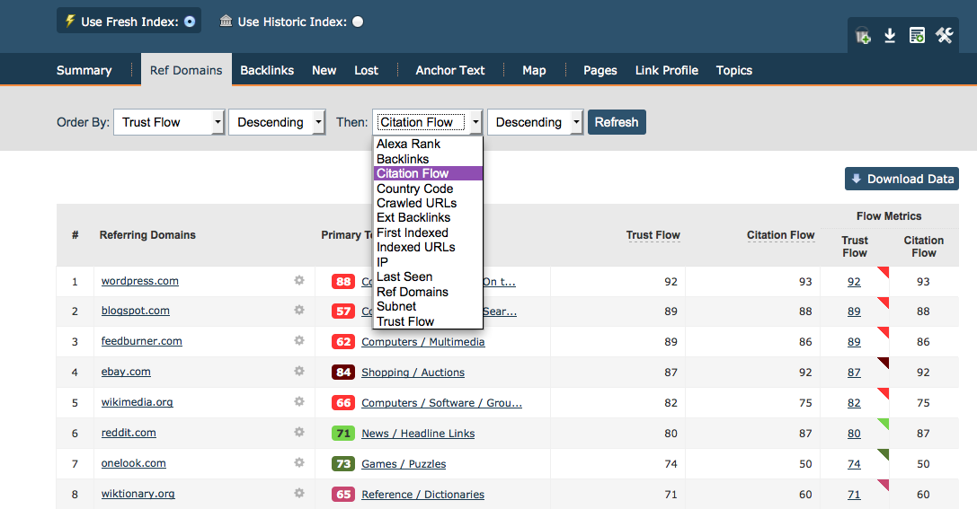 Image 3: Ref Domains tab