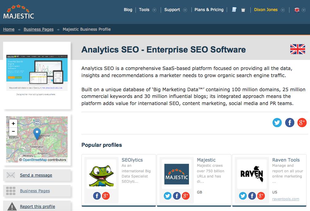 Analytics SEO profile on Launch Day