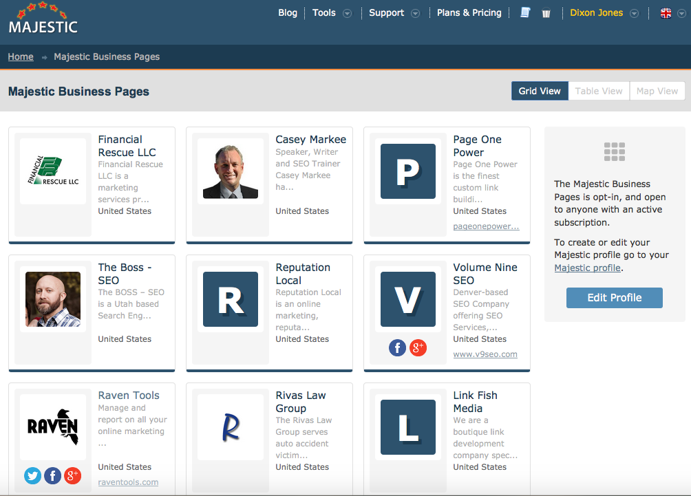 Business Pages show Majestic users near you.