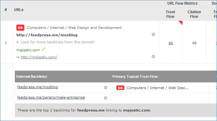 Drill down from the Backlinks tab.