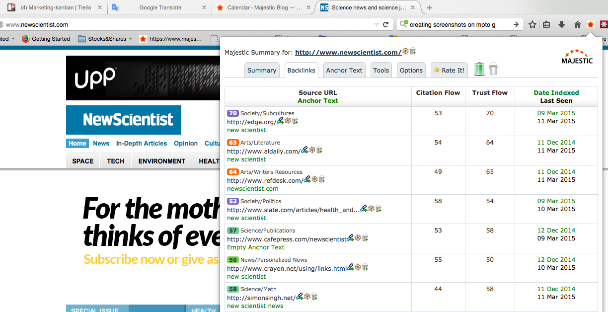 The Majestic Firefox Extension showing TTF in Baclinks tab.