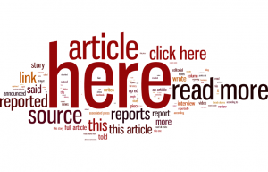 Wordle of anchor text used on UK and US news sites