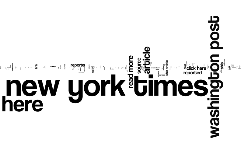 Wordle of common anchor text used on the sites of some US news sites.
