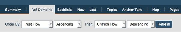 Ordena la lista de manera ascendente por Trust Flow y descendentemente por Citation Flow para ver el spam
