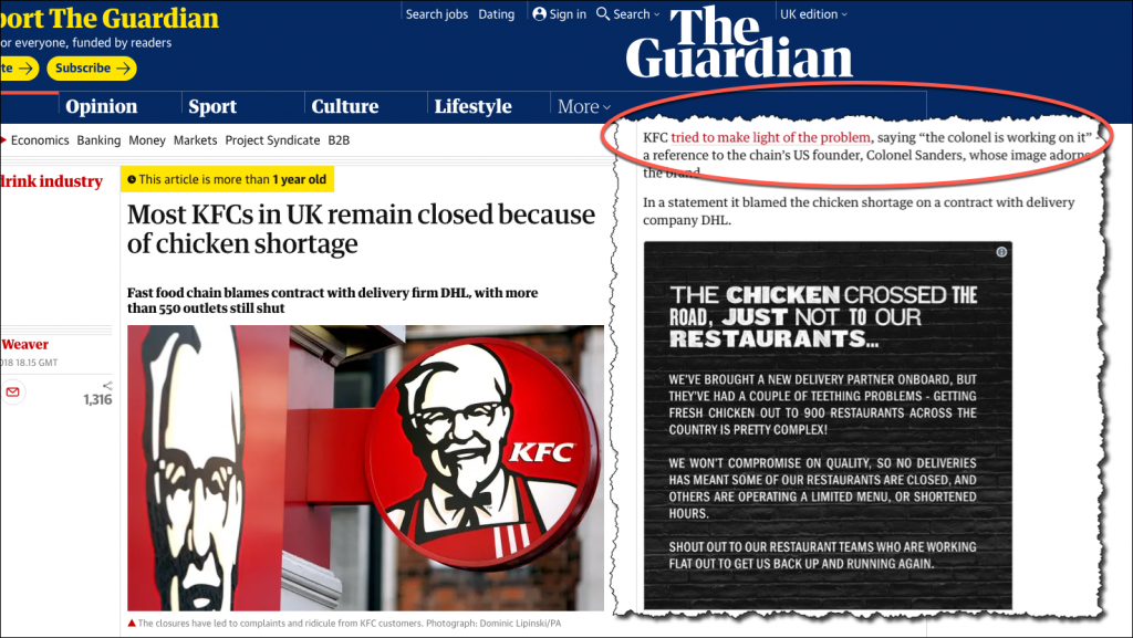 KFC The Guardian Article