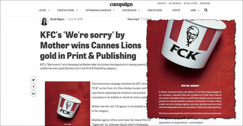 KFC Cannes Lions Award