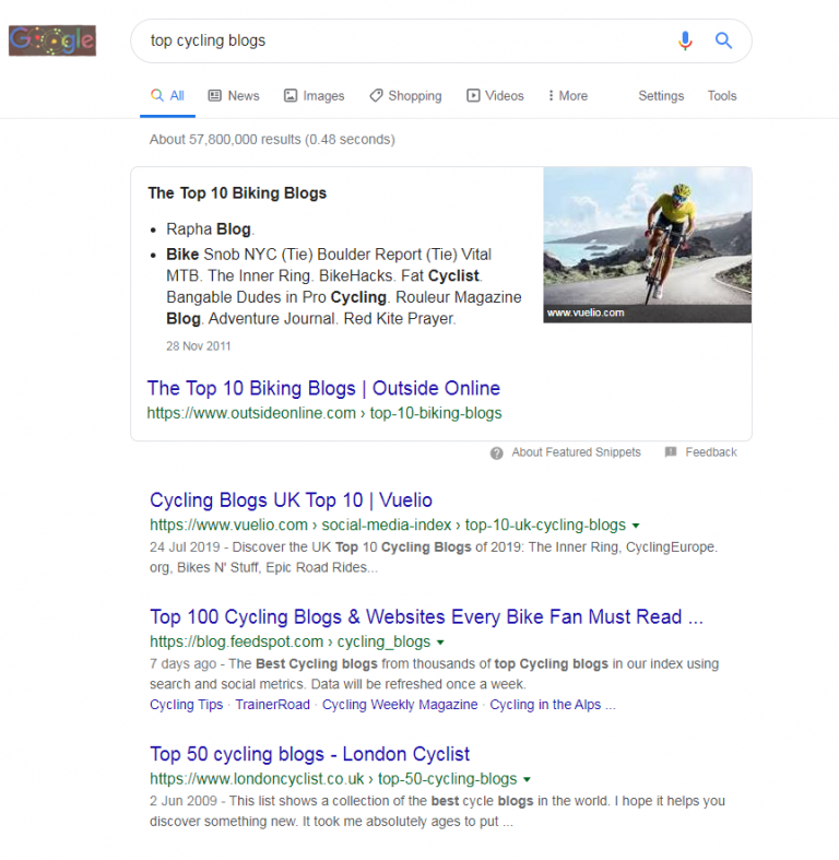 Ricerca su Google per top cycling blogs per illustrare la nuova funzionalità del Clique Hunter