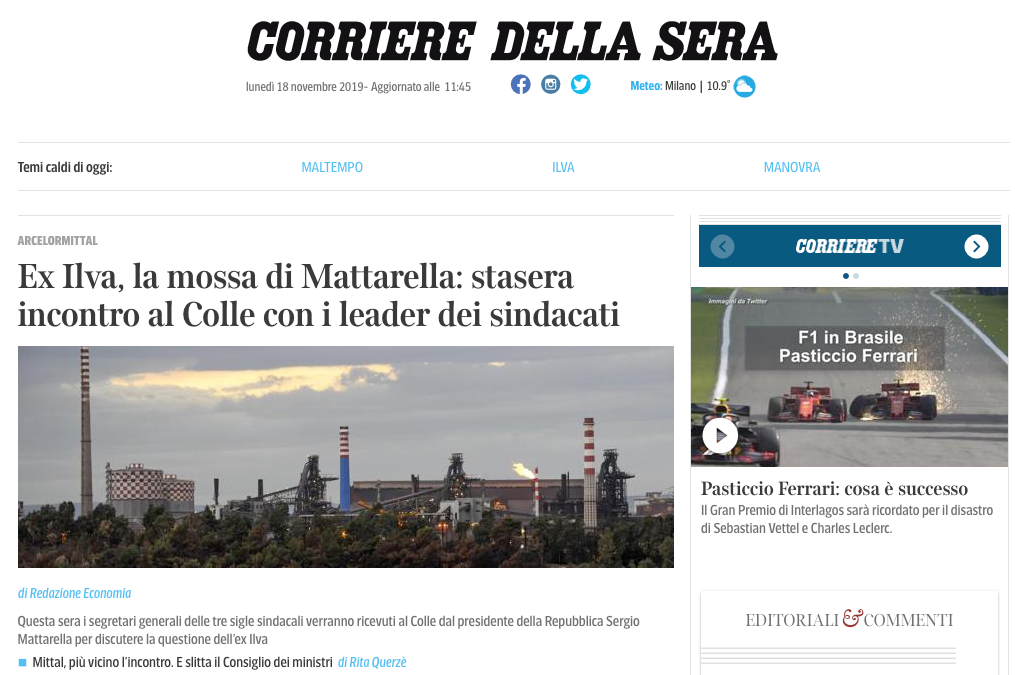 Screenshot of the Home Page of Corriere.it, Important Italian newspaper.