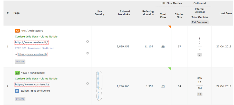Majestic Link Context and Link Density values - screenshot taken from the Link Context tab of Site Explorer.