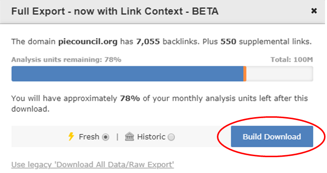 Backlink download, available with Link Context information (in BETA at the time of this writing)
