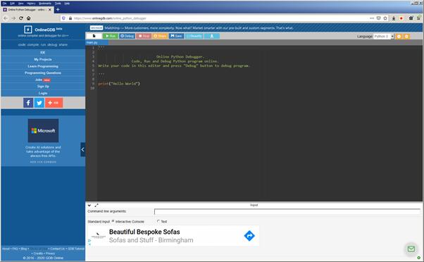 OnlineGDB.com - screenshot of the working environment