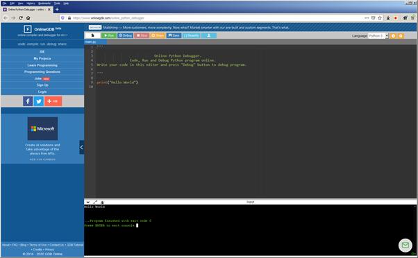 OnlineGDB.com: appare una nuova finestra quando si esegue un programma in Python