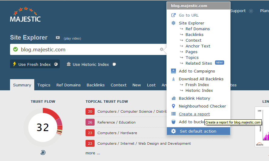 Majestic Site Explorer screenshot, cog menu open to create a report