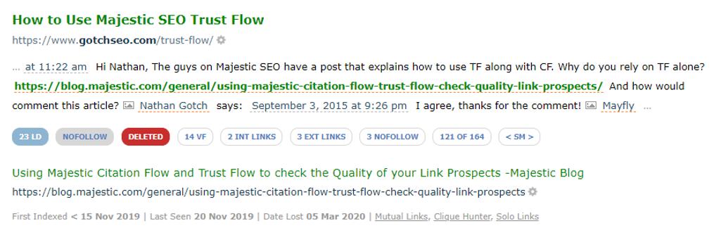 Analisi dei backlink con il Link Context: Il link rimosso o cancellato