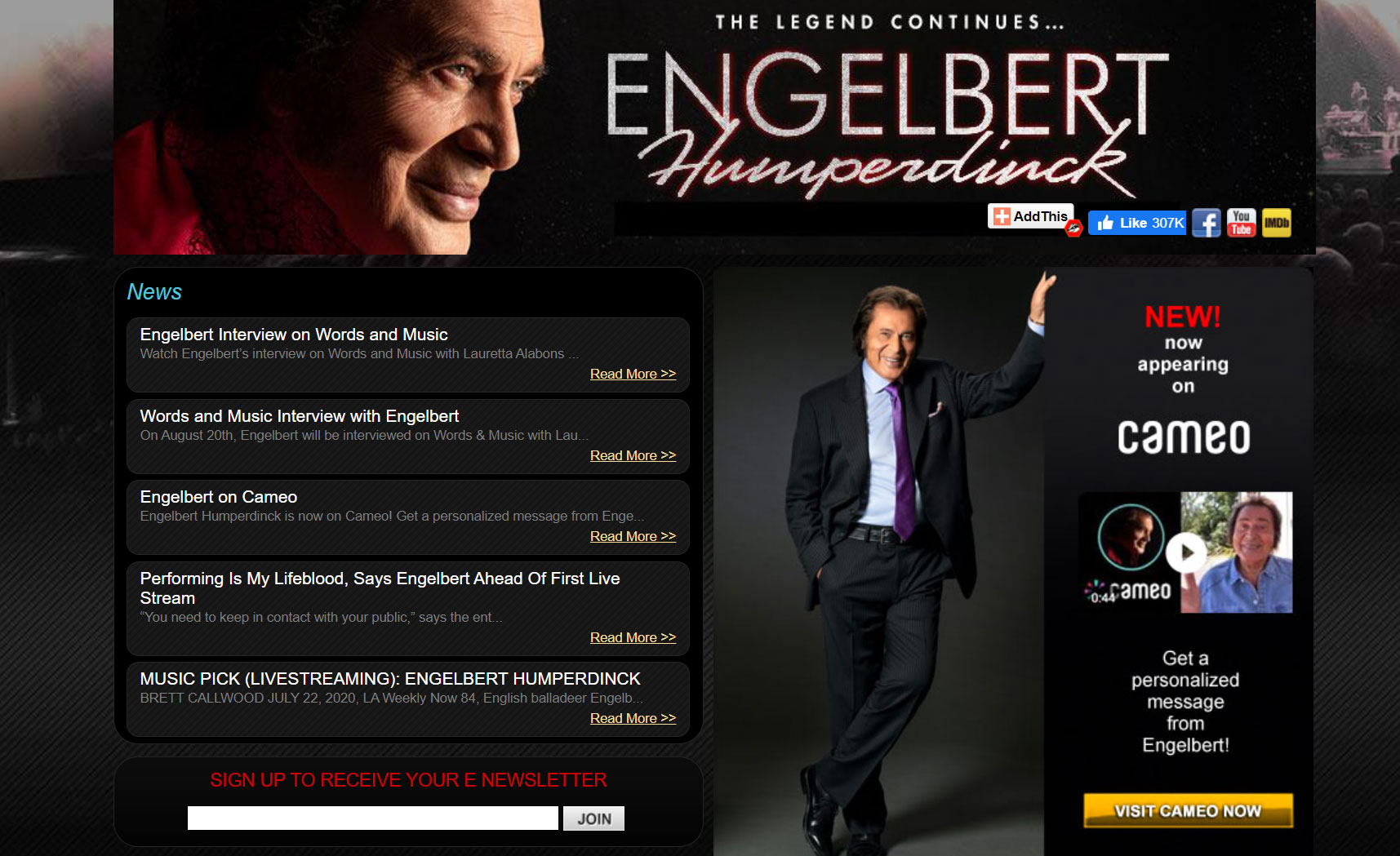 Screenshot for the home page of Engelbert Humperdink