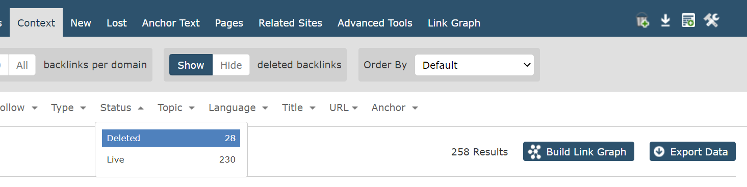 Showing the Filter bar in the Context tabs of majestic.com. Choosing 'Deleted' from the backlink status box.