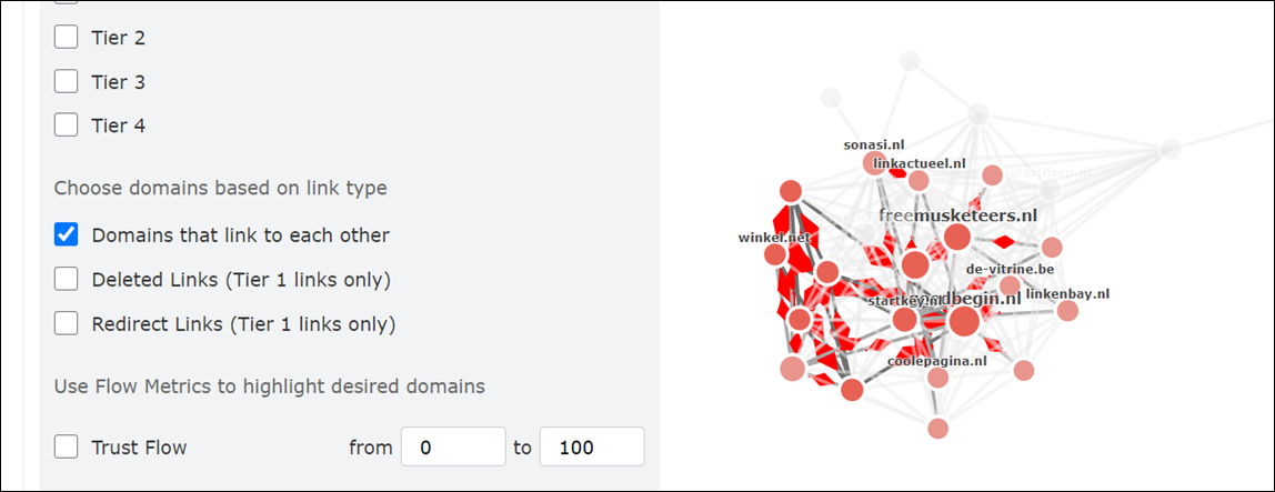 "Showing that you can choose ""Domains that link to each other"", and teh graph will select just the domains with mutual links"