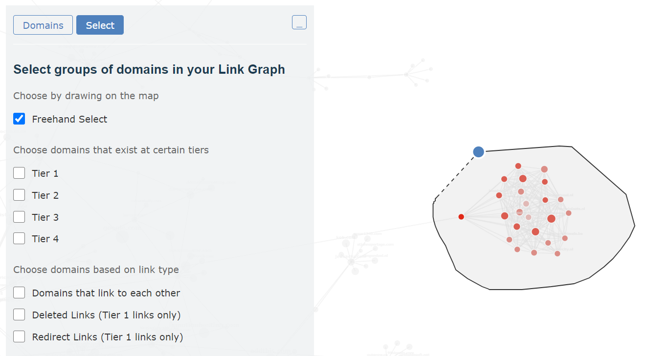 Showing that you can choose the freehand option to draw around groups of domains in a link graph