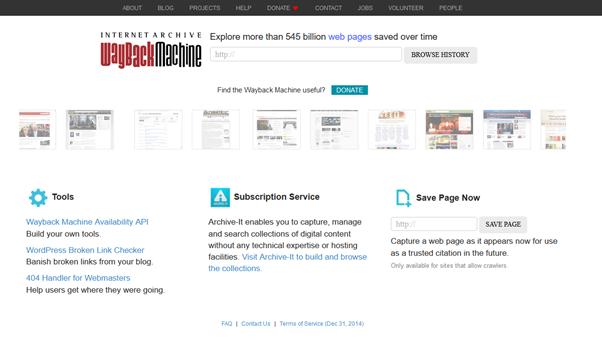 The WayBack Machine (Internet Archive)