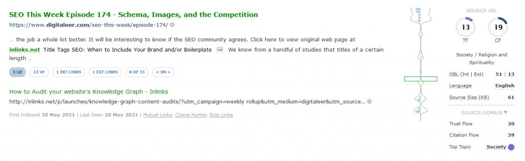 A Link Context block showing a link between digitaleer.com to inlinks.net.