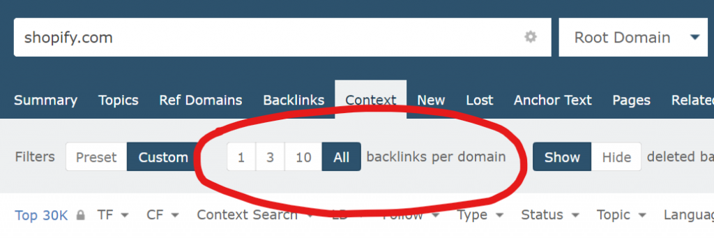 An image of a toggle in Site Explorer Context tab where you can change the number of backlinks per domain.