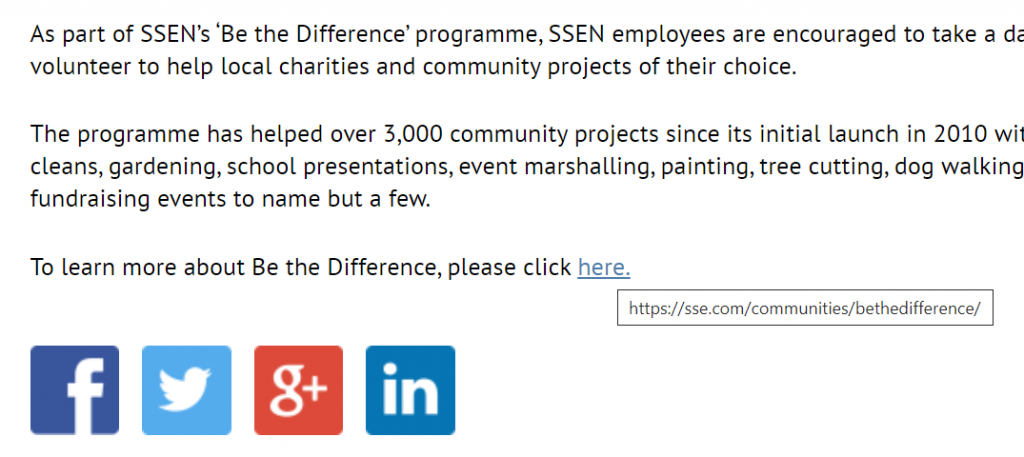 A screenshot from the highlighted website. It is a paragraph of editorial text with a 'click here' link at the end.