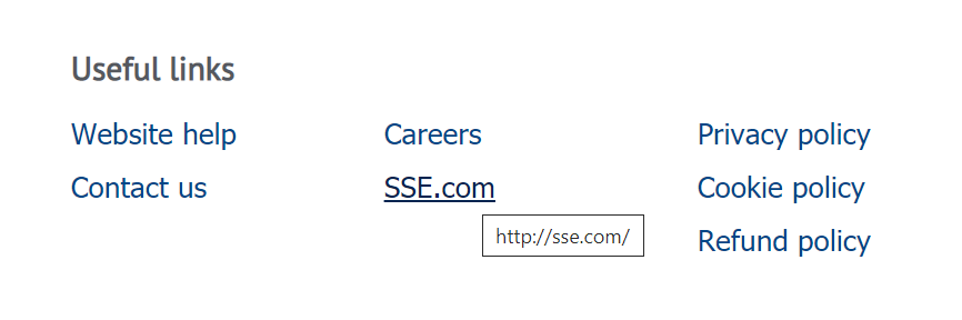 """A screenshot of the site's footer. A link with the anchor text """"sse.com"""" goes to sse.com"""