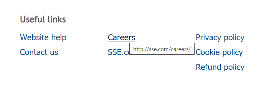 A screenshot of the site's footer. A 'careers' link goes to sse.com